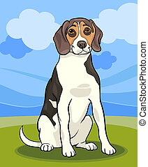 beagle dog cartoon illustration - Cartoon Illustration of...