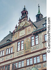 City Hall on Market Square in Tubingen, Germany - City Hall...