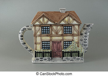 Porcelain teapot in the form of a house