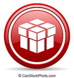 box red glossy icon on white background - red glossy circle...