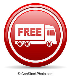 free delivery red glossy icon on white background - red...