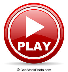 play red glossy icon on white background - red glossy circle...