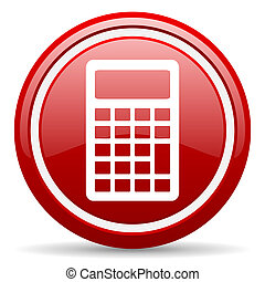 calculator red glossy icon on white background - red glossy...