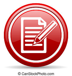 notes red glossy icon on white background - red glossy...