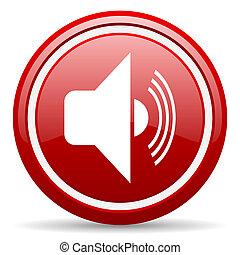 volume, vermelho, lustroso, ícone, branca, fundo