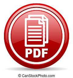 pdf red glossy icon on white background - red glossy circle...