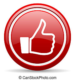 thumb up red glossy icon on white background - red glossy...