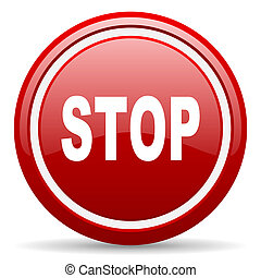 stop red glossy icon on white background - red glossy circle...
