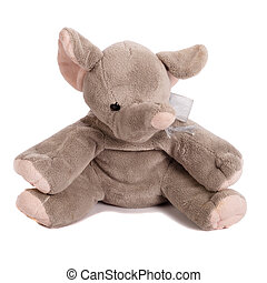 old soft toy - elephant on a white background