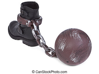 slavery metaphor - shoe and ball and chain on white