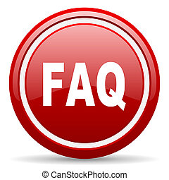 faq red glossy icon on white background - red glossy circle...