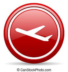 airplane red glossy icon on white background - red glossy...