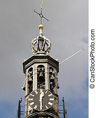Clock Tower in Amsterdam, Holland