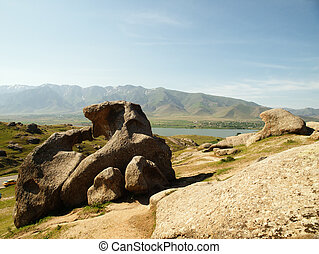 Landscape in Uzbekistan - Big stones formations in...