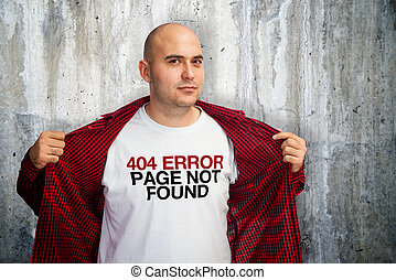 404 error - Man showing his white t-shirt with 404 error...