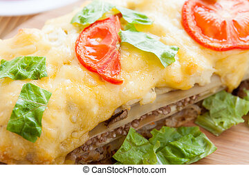 Vegetable lasagna with tomato, close-up