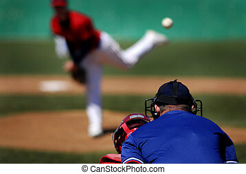 Baseball Pitcher - Baseball player wearing uniform throwing...
