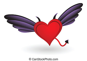 Heart with Horns and Wings - Heart with Horns, Tail and...