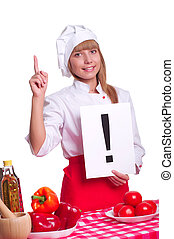 Attractive cook woman a over white background - beautiful...