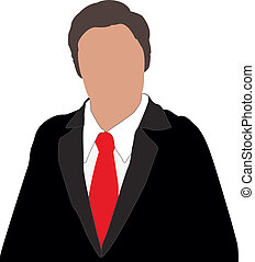 man faceless - illustration of business man with red tie and...