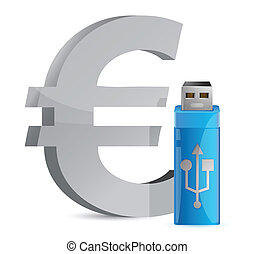 currency sign USB memory stick illustration graphic design