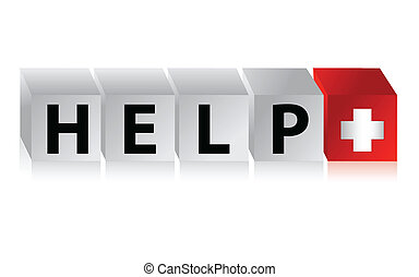 Help Button Click Here Block illustration graphic design