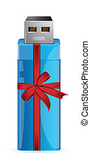 USB Flash Drive. Gift with colorful ribbon illustration...