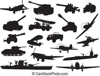 Military - High detailed World War2 military silhouettes set...