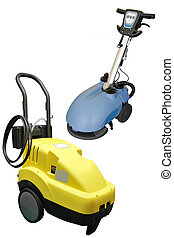 floor buffing machine under the white background