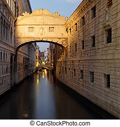 wonderful sunset over Bridge of Sighs - Ponte dei Sospiri. A...