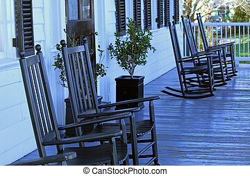 Rocking Chairs - Empty rocking chairs on porch