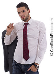 Young man in casual office attire