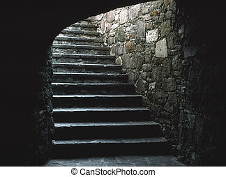 Subterranean Stairway - A stairway leads up out of a...