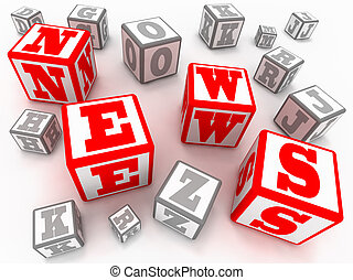 "News - Blocks with letters form a word \""NEWS\\\"""
