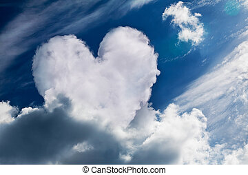 Heart shaped cloud, symbol of love