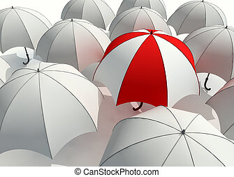Umbrellas - 3d rendered illustration of many umbrellas