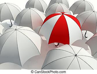 Umbrellas - 3d rendered illustration of many  umbrellas
