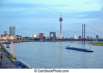 Duesseldorf, Germany - Duesseldorf skyline at night with...