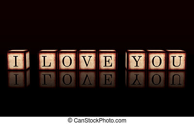 I love you in 3d wooden cubes