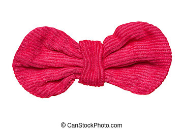 Red velvet bow, isolated on white