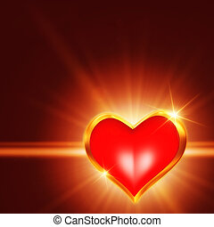 shining golden heart - 3d shining golden heart with rays of...