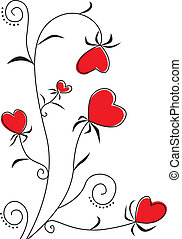 Flower heart - Congratulatory background with a heart-shaped...