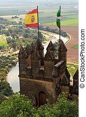Almodovar, del, Rio, medieval, castelo, Bandeiras, Espanha,...