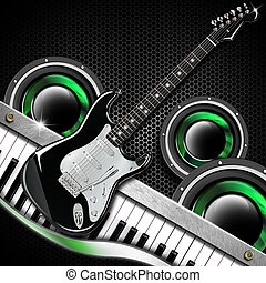 Black Guitar Hexagons Background - Music black background...