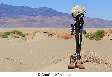 Fallen Soldier Gravesite - AR-15 rifle, boots and combat...