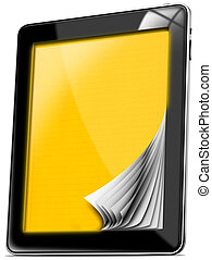 Tablet Computer with Yellow Pages - Black tablet computer...