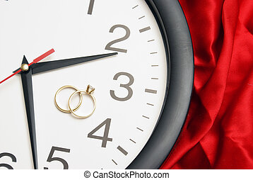 Time to Get Married - Wedding bands rest on the face of a...