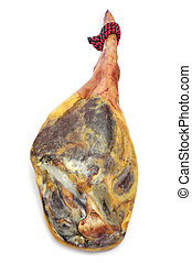 serrano ham - leg of spanish serrano ham on a white...