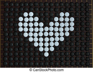 Love heart shaped on goe boardgame Stones for game go for...