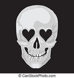 Human skull with heart love eyes for valentine day. Vector...